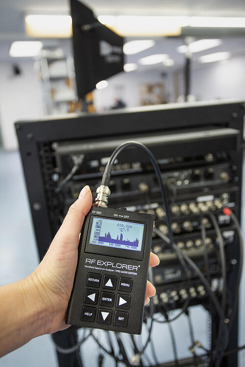 RF Explorer Pro Audio Connected to Wireless Mic System