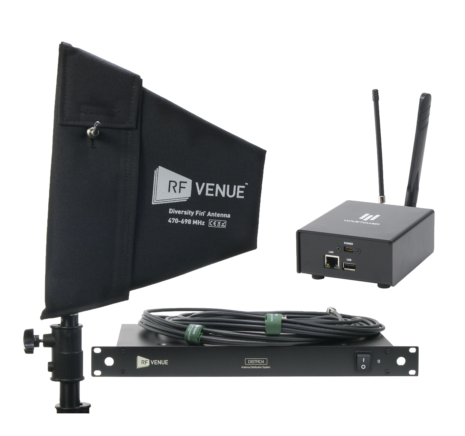Diversity Fin® Antenna, DISTRO4, WaveTower® Bundle